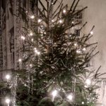Christmas tree with tinsel